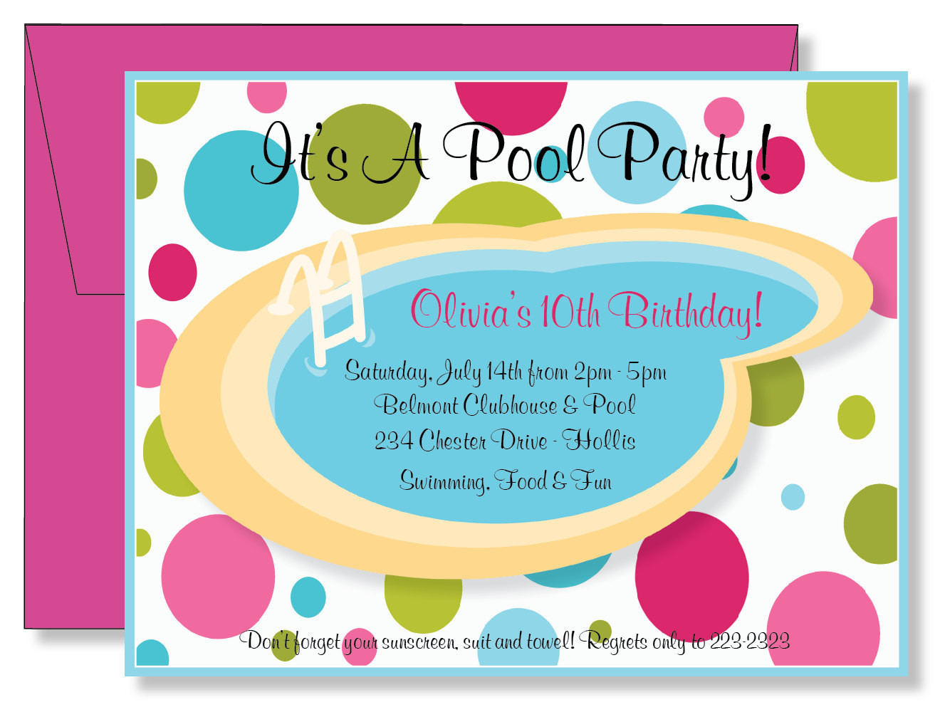 Best ideas about Swimming Birthday Party Invitations . Save or Pin Custom Polka Dots Swimming Pool Party Birthday by Now.