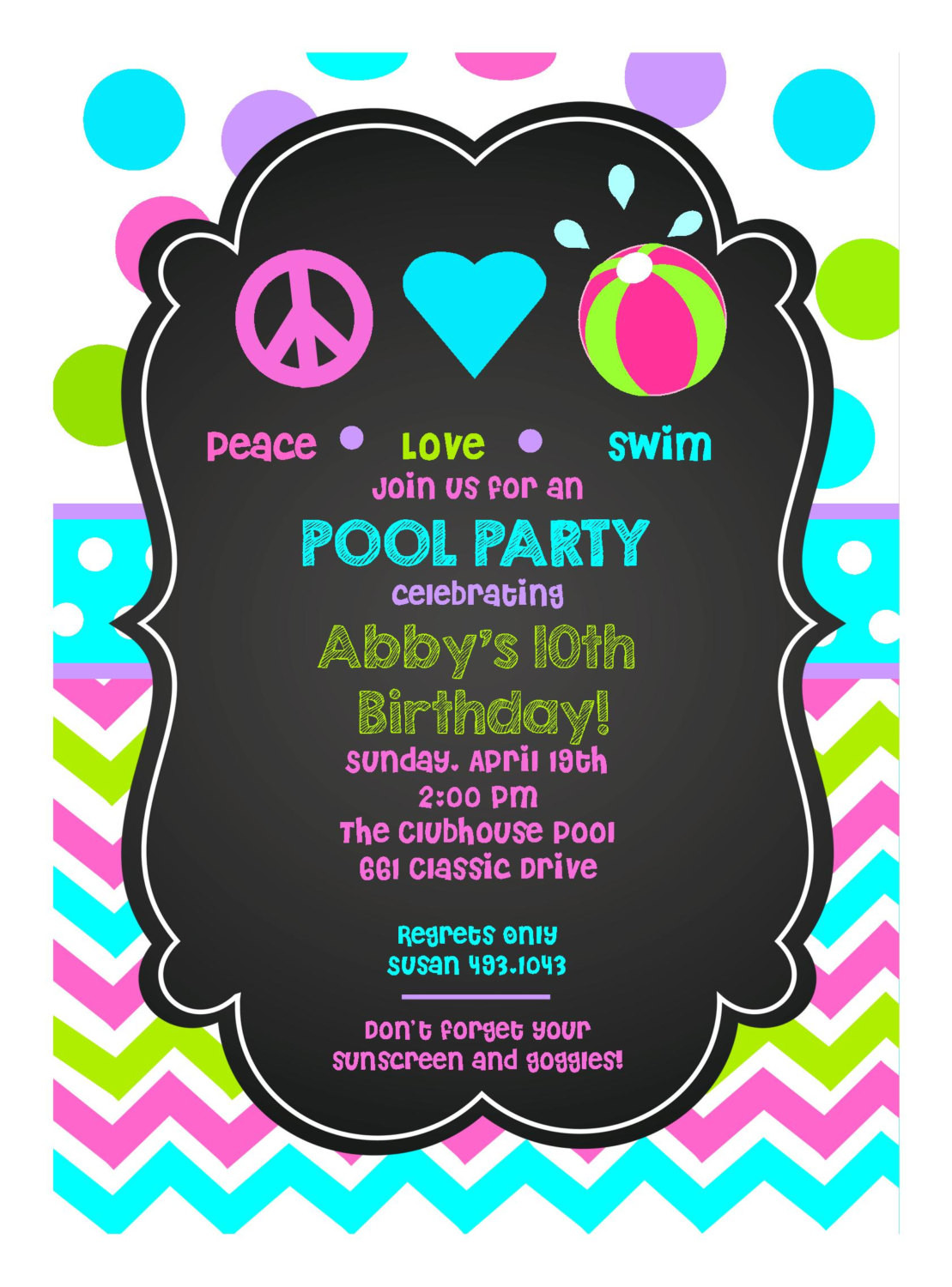 Best ideas about Swimming Birthday Party Invitations . Save or Pin Personalized Girls Peace Love Swim Birthday Party Digital Now.