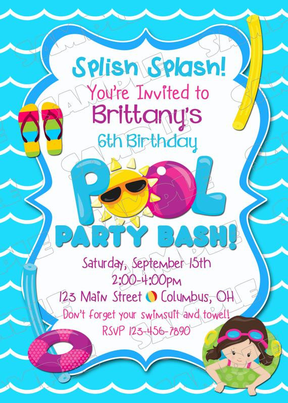 Best ideas about Swimming Birthday Party Invitations . Save or Pin Pool party invitation swim party swimming birthday party Now.