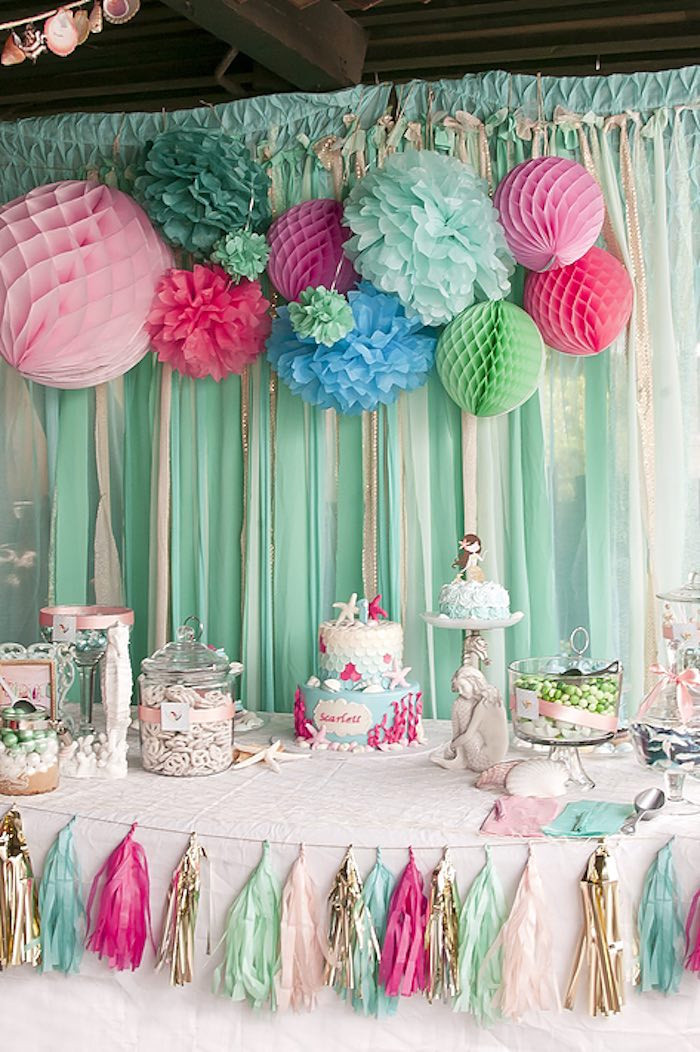 Best ideas about Table Decoration Ideas For Birthday Party . Save or Pin Kara s Party Ideas Littlest Mermaid 1st Birthday Party Now.