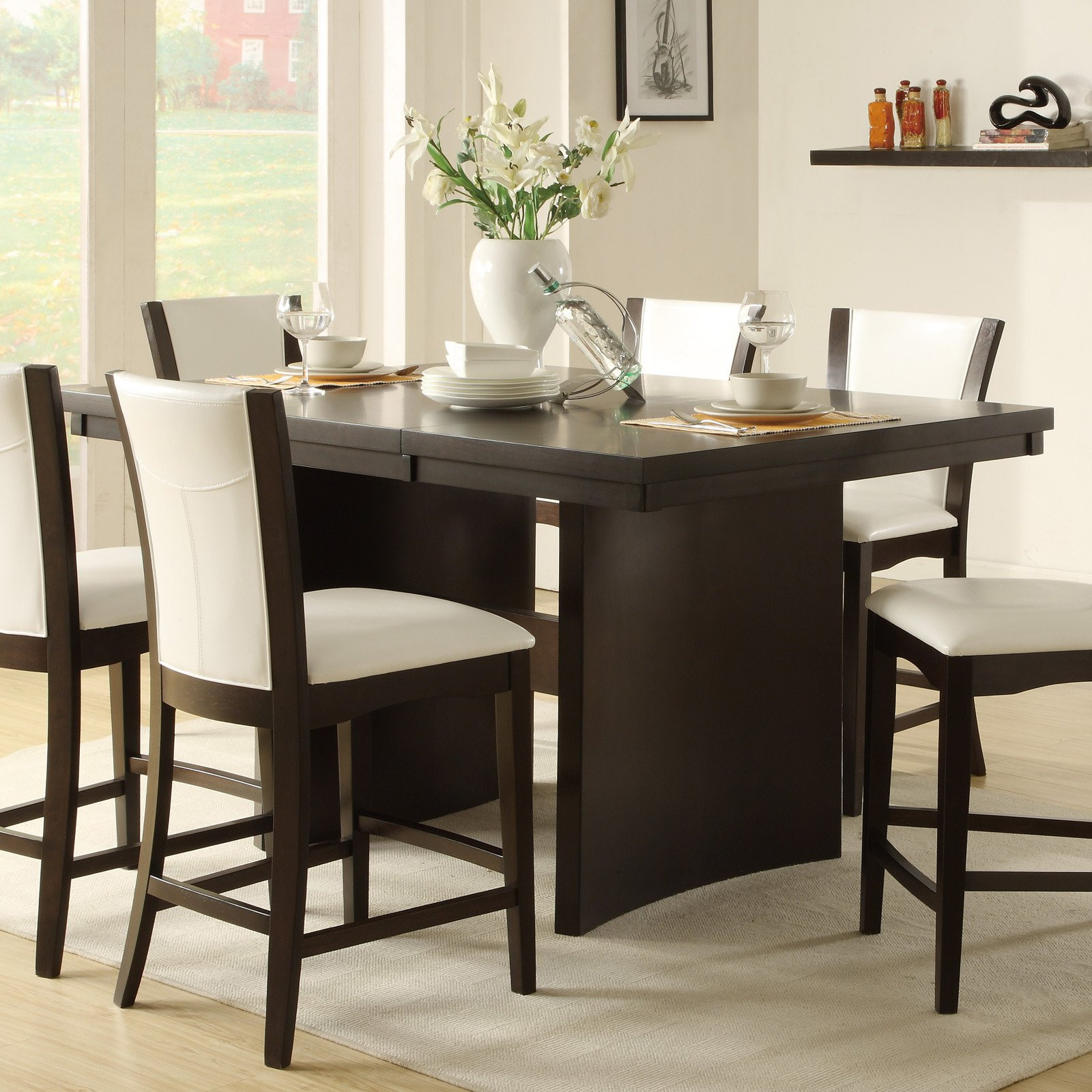 Best ideas about Tall Dining Table . Save or Pin Daisy 46 in Rectangle Counter Height Trestle Dining Table Now.