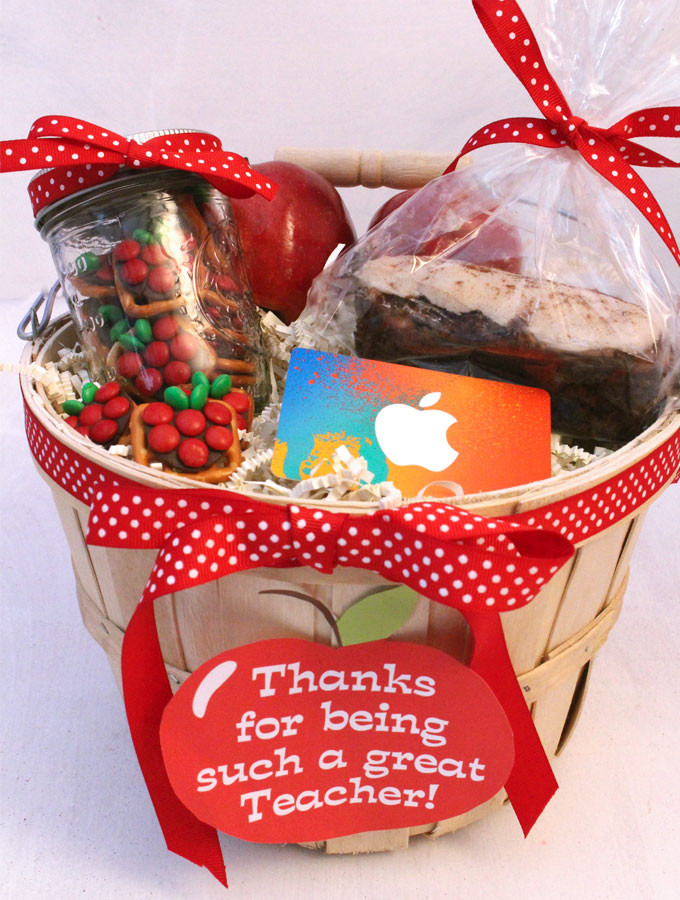 Best ideas about Teacher Appreciation Gift Basket Ideas . Save or Pin Apples for the Teacher Gift Basket Two Sisters Now.