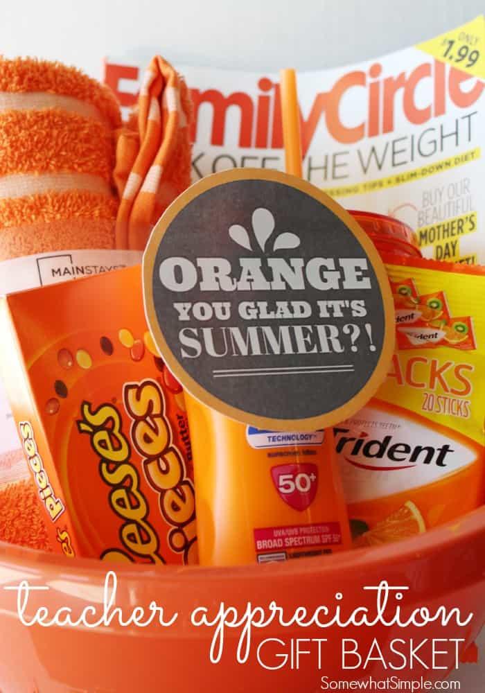Best ideas about Teacher Appreciation Gift Basket Ideas . Save or Pin Orange You Glad Gift Basket Teacher Gift Now.