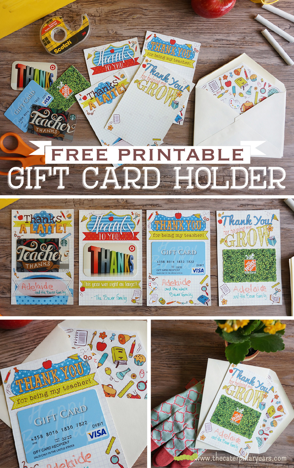 Best ideas about Teacher Gift Card Ideas . Save or Pin Printable Teacher Gift Card Holders Yellow Bliss Road Now.
