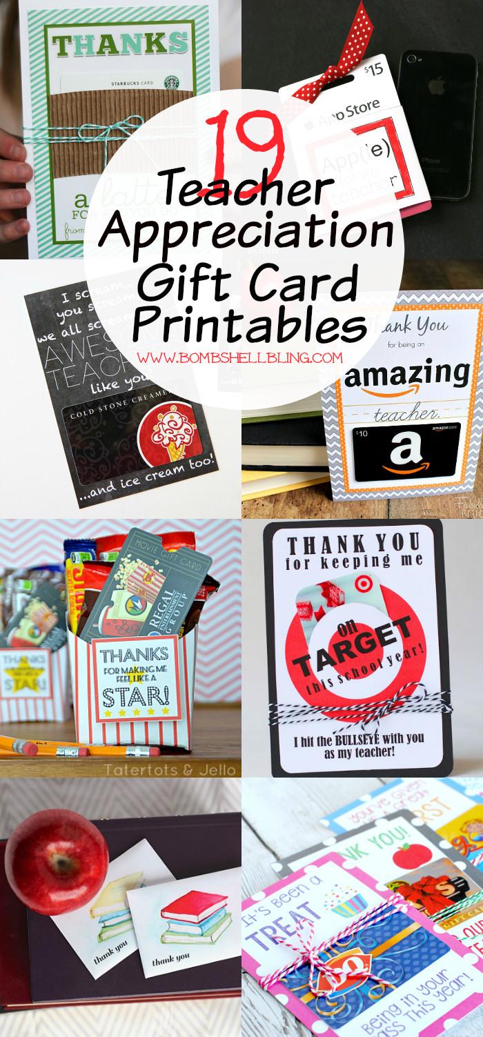 Best ideas about Teacher Gift Card Ideas . Save or Pin Teacher Appreciation Gift Card Printables 19 FREE Ideas Now.