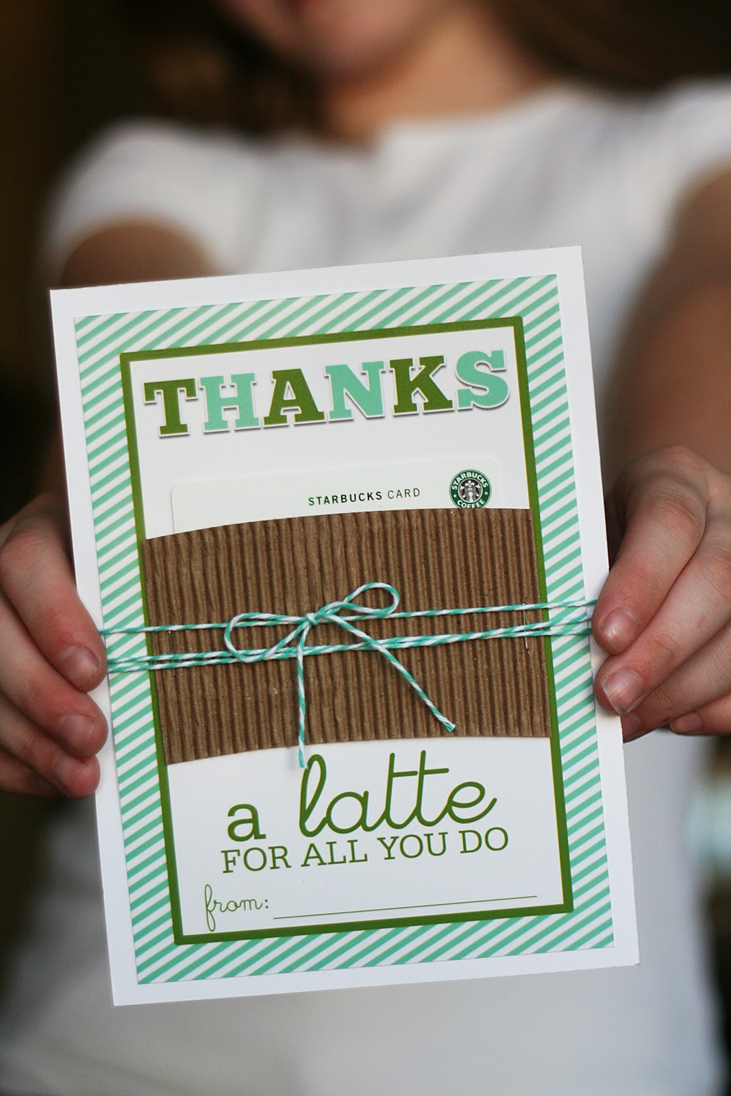 """Best ideas about Teacher Gift Card Ideas . Save or Pin Printable Thanks """"a latte"""" Gift Card Holder Teacher Now."""