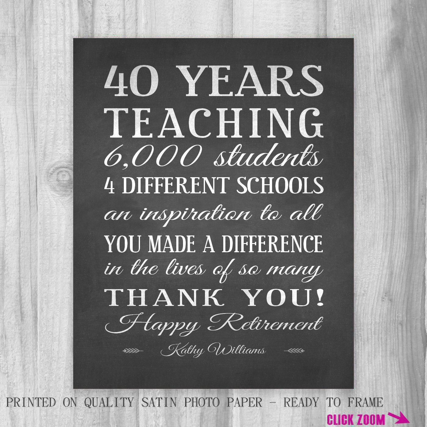 Best ideas about Teachers Retirement Gift Ideas . Save or Pin Teachers Gift RETIREMENT Unique Personalized e of a Kind Now.