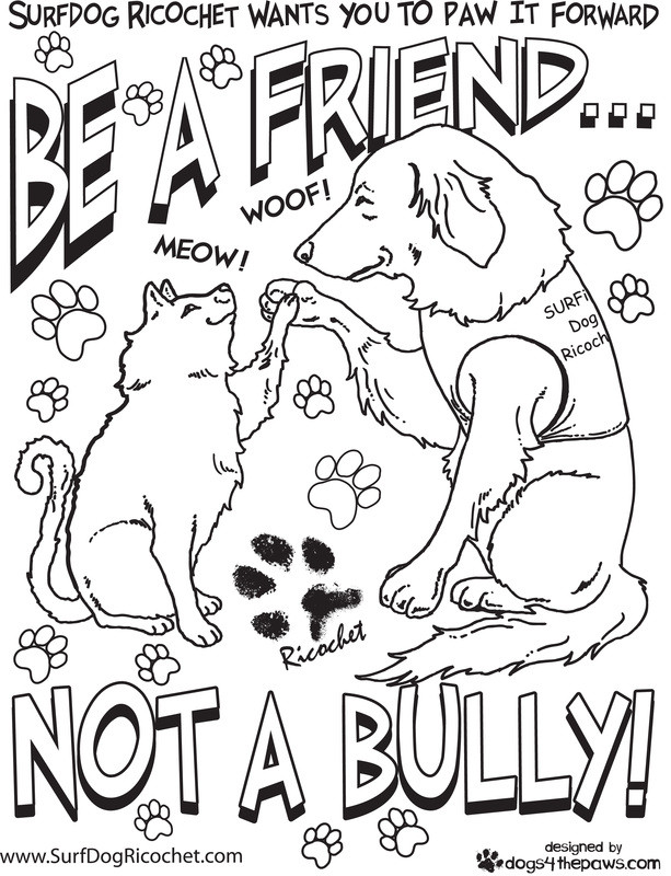 Best ideas about Therapeutic Coloring Pages For Kids . Save or Pin Surf dogs Anti Bullying Campaign Now.