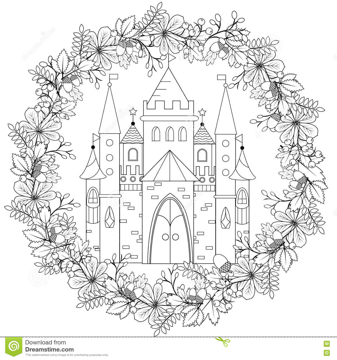 Best ideas about Therapeutic Coloring Pages For Kids . Save or Pin Relaxing Coloring Page With Fairy Castle In Forest Wreath Now.