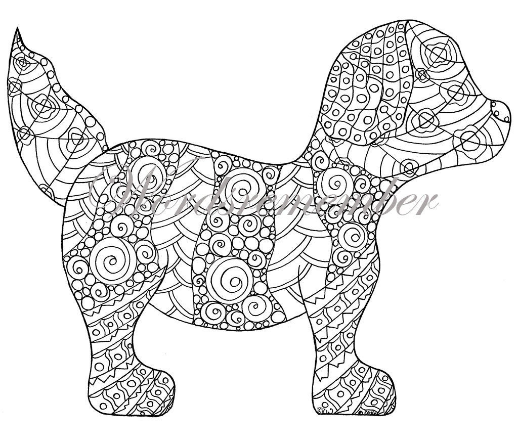 Best ideas about Therapeutic Coloring Pages For Kids . Save or Pin Adult Coloring Page Puppy Coloring Page Colouring Page Kids Now.