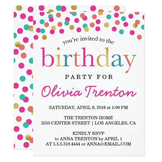 Best ideas about Toddlers Birthday Invitations . Save or Pin Colorful Confetti Kids Birthday Party Invitations Now.
