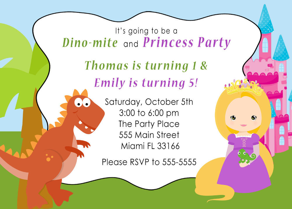 Best ideas about Toddlers Birthday Invitations . Save or Pin 30 Dinosaur Princess Invitation Cards Kids Birthday Party Now.