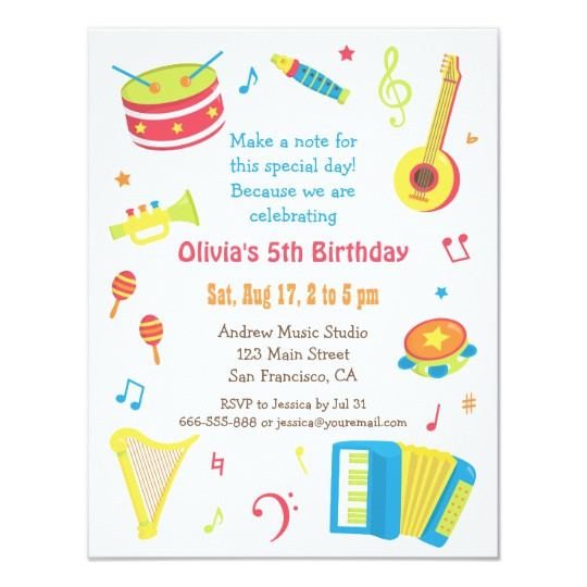 Best ideas about Toddlers Birthday Invitations . Save or Pin Colourful Music Instruments Kids Birthday Party Invitation Now.