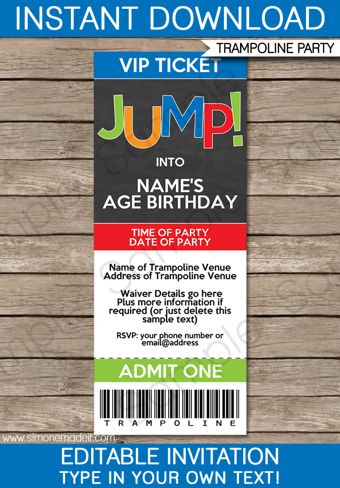 Best ideas about Trampoline Birthday Party Invitations . Save or Pin Trampoline Party Ticket Invitations Now.