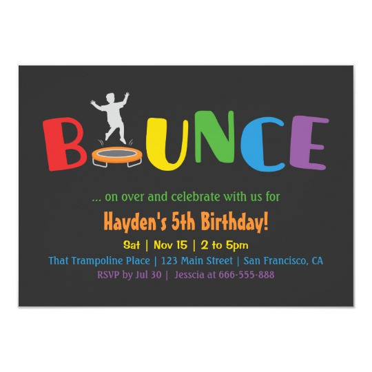Best ideas about Trampoline Birthday Party Invitations . Save or Pin Bounce Trampoline Kids Birthday Party Invitations Now.