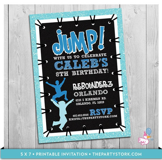 Best ideas about Trampoline Birthday Party Invitations . Save or Pin Trampoline Party Invitation Custom Printable Boys JUMP Now.