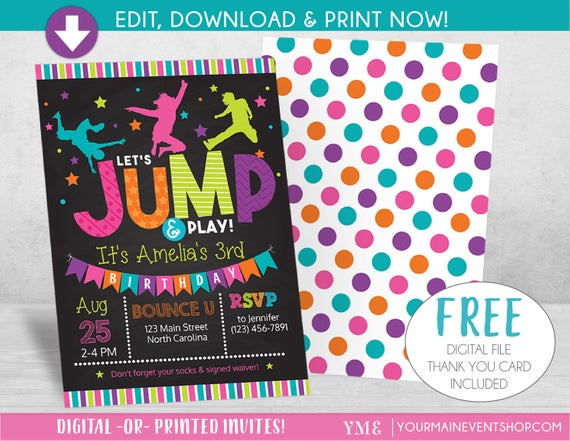 Best ideas about Trampoline Birthday Party Invitations . Save or Pin Jump Birthday Invitation Trampoline Party Invite Bounce Now.