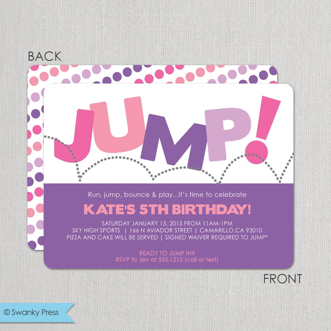 Best ideas about Trampoline Birthday Party Invitations . Save or Pin Trampoline Birthday Party Invitation for girls Pump It Up Now.