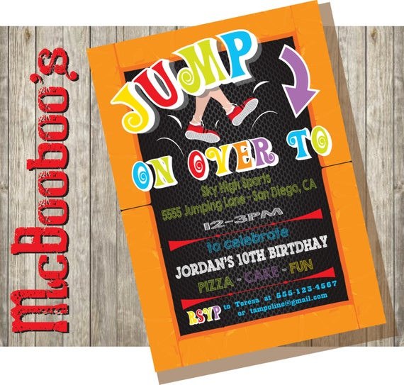 Best ideas about Trampoline Birthday Party Invitations . Save or Pin Trampoline Birthday Party Invitation Now.