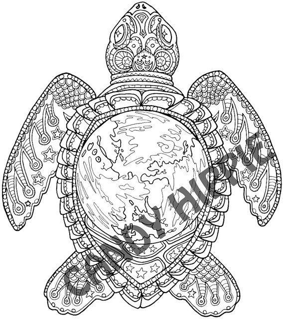 Best ideas about Turtle Coloring Pages For Adults . Save or Pin Adult Coloring Page World Turtle Printable coloring Now.
