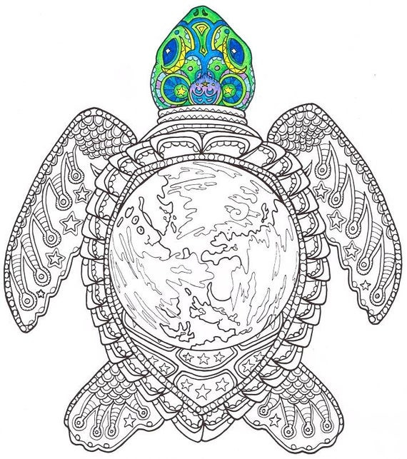 Best ideas about Turtle Coloring Pages For Adults . Save or Pin Adult Coloring Page World Turtle Printable coloring page Now.