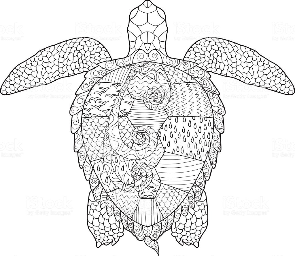 Best ideas about Turtle Coloring Pages For Adults . Save or Pin Adult Antistress Coloring Page With Turtle Stock Vector Now.