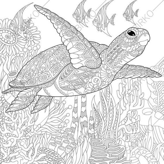 Best ideas about Turtle Coloring Pages For Adults . Save or Pin Adult Coloring Page Sea Turtle Zentangle Doodle Coloring Now.