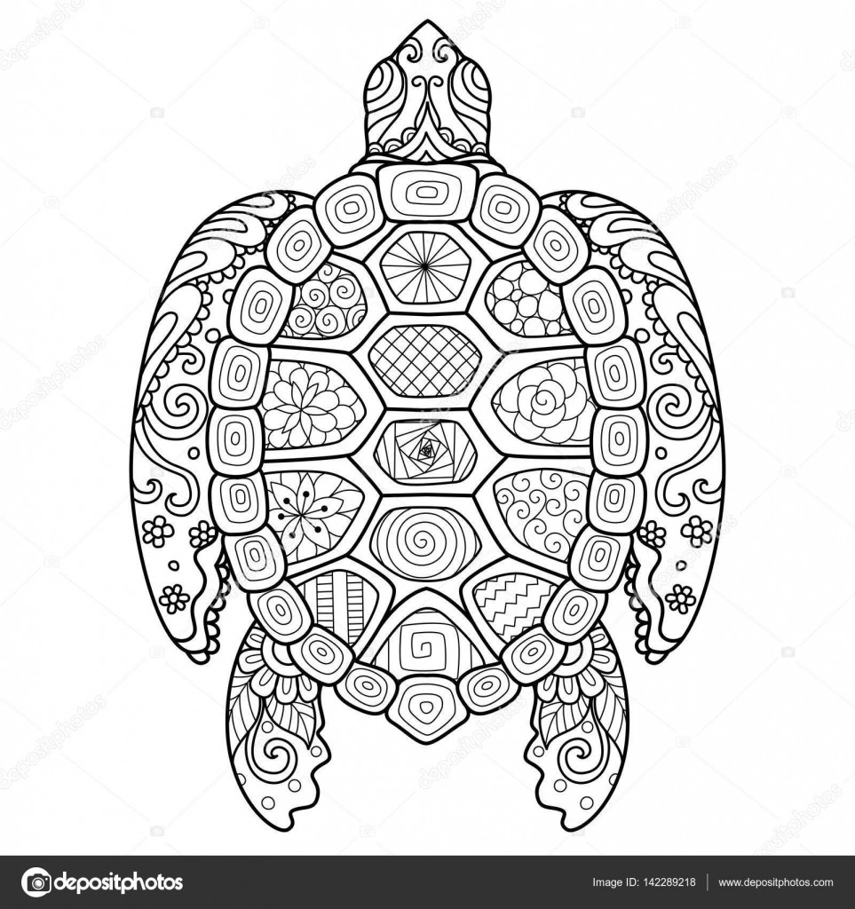 Best ideas about Turtle Coloring Pages For Adults . Save or Pin Zendoodle stylize of beautiful turtle for T shirt design Now.