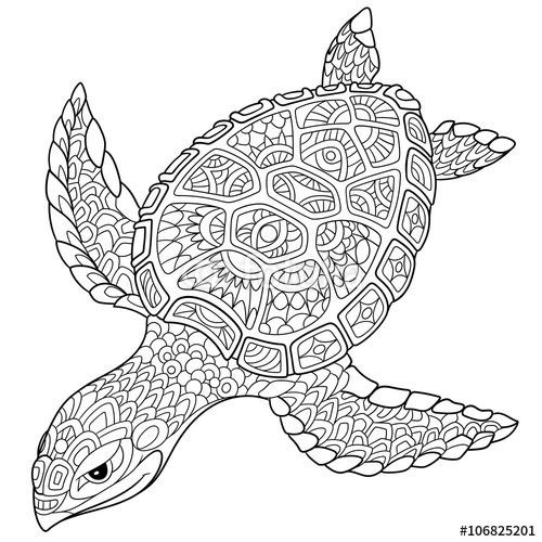 Best ideas about Turtle Coloring Pages For Adults . Save or Pin Zentangle turtle adult antistress coloring page Now.