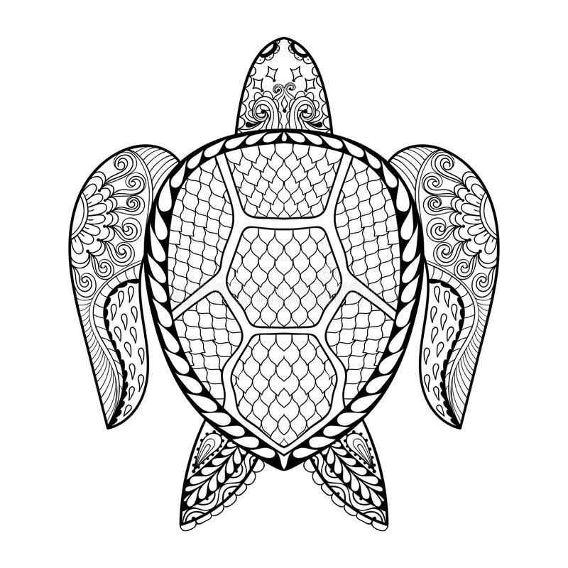 Best ideas about Turtle Coloring Pages For Adults . Save or Pin Hand Drawn Sea Turtle For Adult Coloring Pages In Doodle Now.