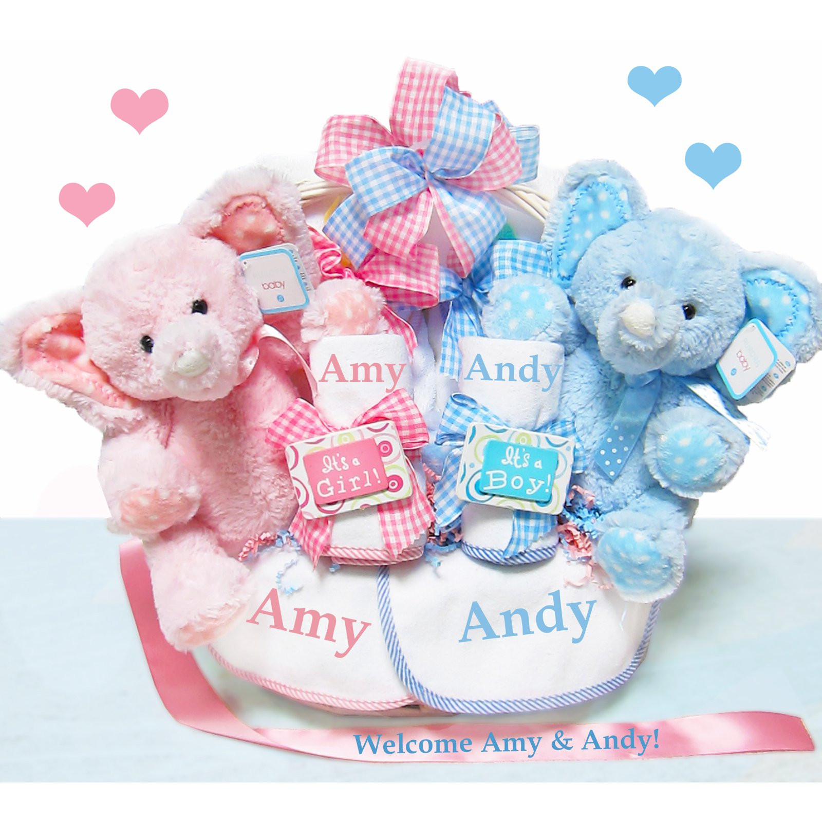 Best ideas about Twin Baby Gift Ideas . Save or Pin Double the Blessings Twins Baby Gift Basket Personalized Now.