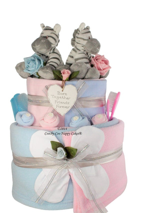 Best ideas about Twin Baby Gift Ideas . Save or Pin Extra Two Tier Twin Baby Nappy Cake baby shower Gift Now.