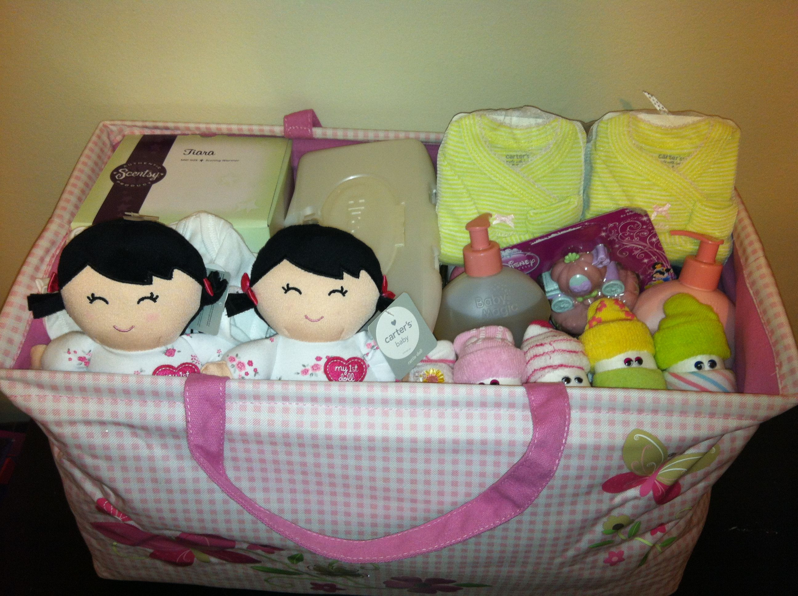 Best ideas about Twin Baby Shower Gift Ideas . Save or Pin Twin Girl Baby Shower Gift Basket Now.