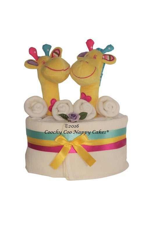 Best ideas about Twin Baby Shower Gift Ideas . Save or Pin Uni Twin Baby Nappy Cake Giraffe Baby Shower Gift Now.