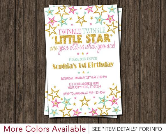 Best ideas about Twinkle Twinkle Little Star 1st Birthday Invitations . Save or Pin Twinkle Twinkle Little Star Birthday Invitation Now.