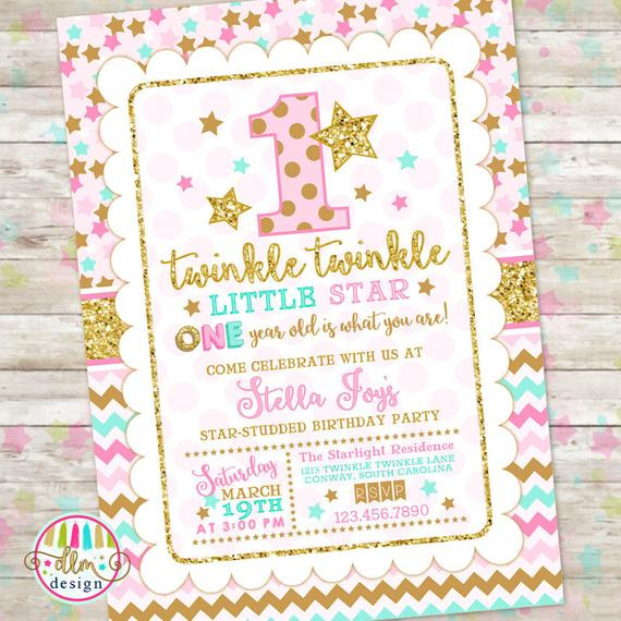 Best ideas about Twinkle Twinkle Little Star 1st Birthday Invitations . Save or Pin Twinkle Twinkle Little Star Birthday Invitation Pink Gold Now.