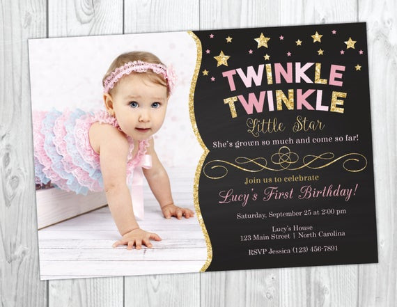 Best ideas about Twinkle Twinkle Little Star 1st Birthday Invitations . Save or Pin Twinkle Twinkle Little Star Birthday Invitation Twinkle Now.