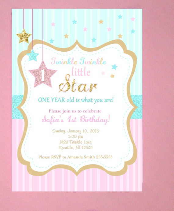 Best ideas about Twinkle Twinkle Little Star 1st Birthday Invitations . Save or Pin Twinkle Twinkle Little Star First Birthday Invitations Now.
