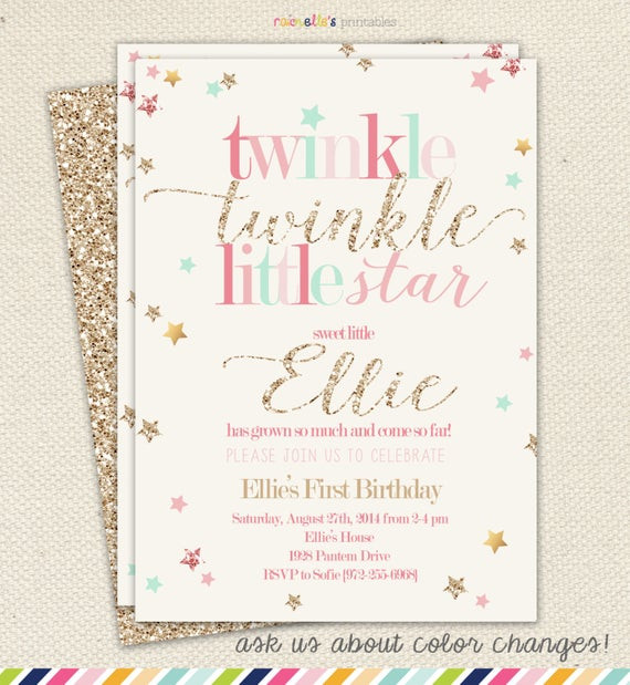 Best ideas about Twinkle Twinkle Little Star 1st Birthday Invitations . Save or Pin Twinkle Twinkle Little Star Girl Birthday Invitation Now.
