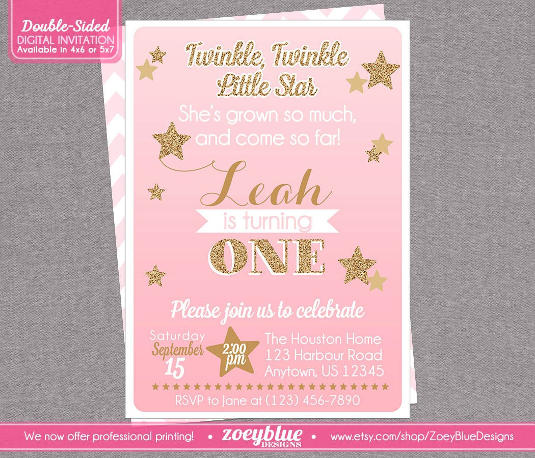Best ideas about Twinkle Twinkle Little Star 1st Birthday Invitations . Save or Pin Twinkle Twinkle Little Star Birthday Invitation by Now.