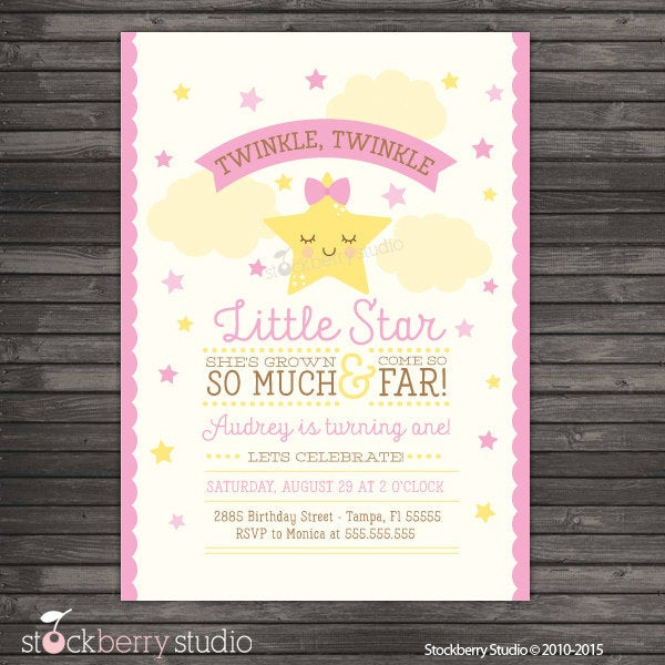 Best ideas about Twinkle Twinkle Little Star 1st Birthday Invitations . Save or Pin Twinkle Twinkle Little Star First Birthday Invitation Now.