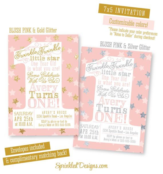 Best ideas about Twinkle Twinkle Little Star 1st Birthday Invitations . Save or Pin Twinkle Twinkle Little Star Invitation Girl First Birthday Now.