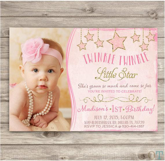 Best ideas about Twinkle Twinkle Little Star 1st Birthday Invitations . Save or Pin Twinkle Twinkle Little Star Birthday Invitations Shabby Now.