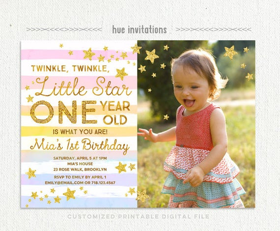 Best ideas about Twinkle Twinkle Little Star 1st Birthday Invitations . Save or Pin twinkle twinkle little star first birthday invitation with Now.