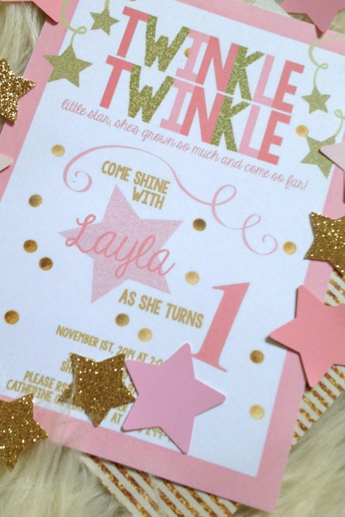 Best ideas about Twinkle Twinkle Little Star 1st Birthday Invitations . Save or Pin Layla s Pink & Gold Twinkle Twinkle Little Star 1st Now.