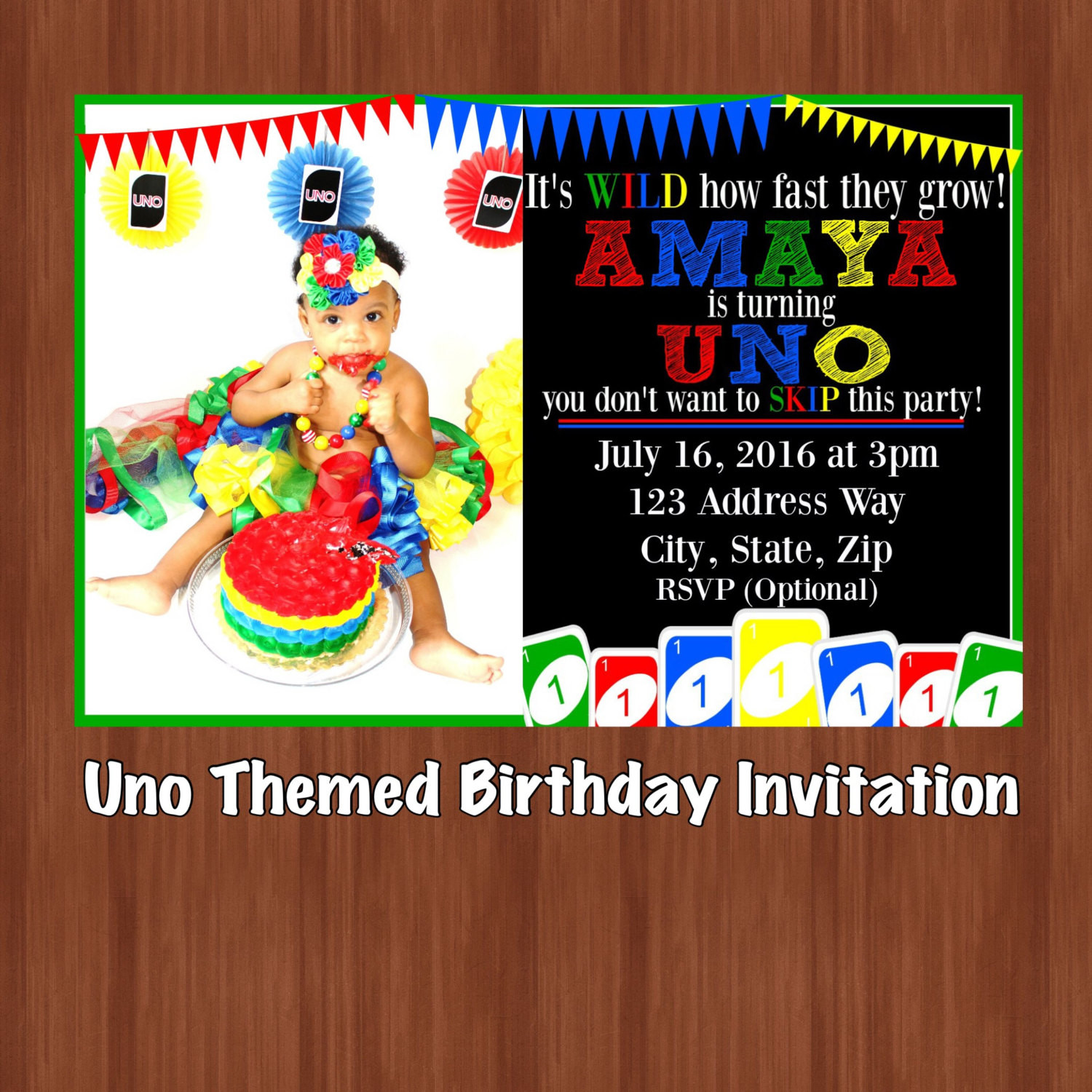 Best ideas about Uno Birthday Party . Save or Pin UNO Themed Birthday Party Invitation UNO e Year Old Now.