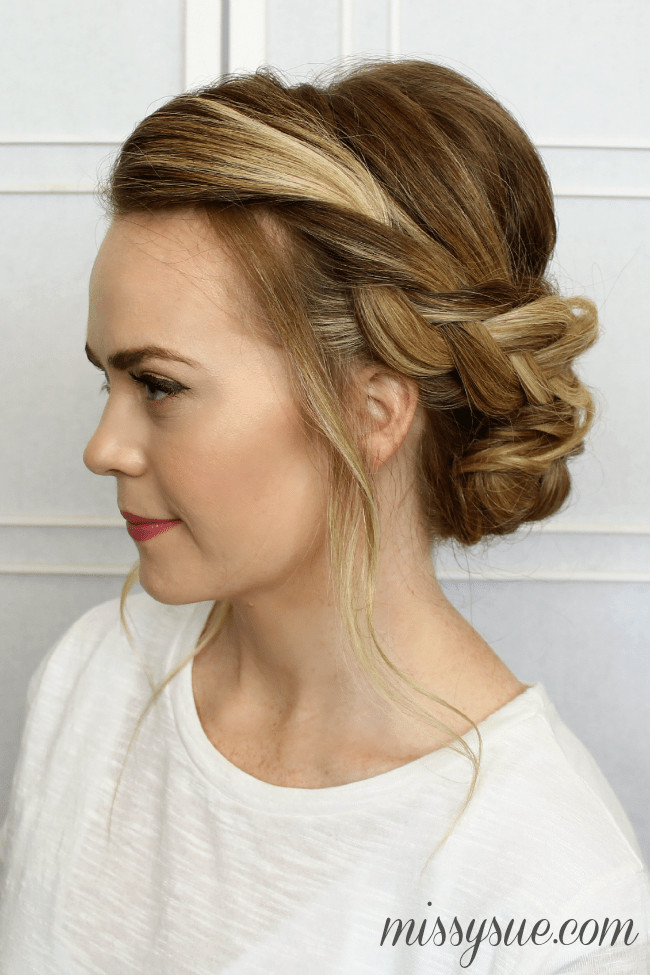 Best ideas about Updo Hairstyle . Save or Pin Soft Braided Updo Now.