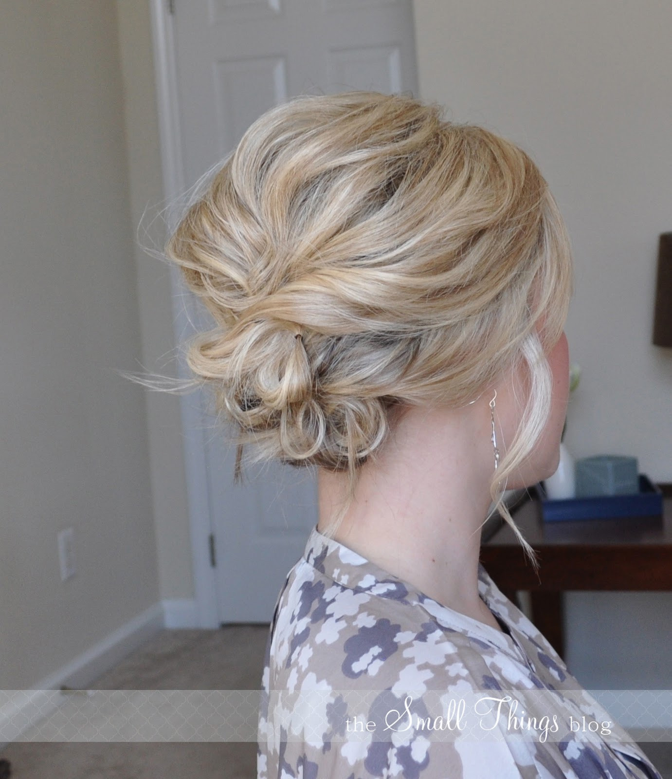 Best ideas about Updo Hairstyles For Short Hair . Save or Pin The Messy Side Updo – The Small Things Blog Now.