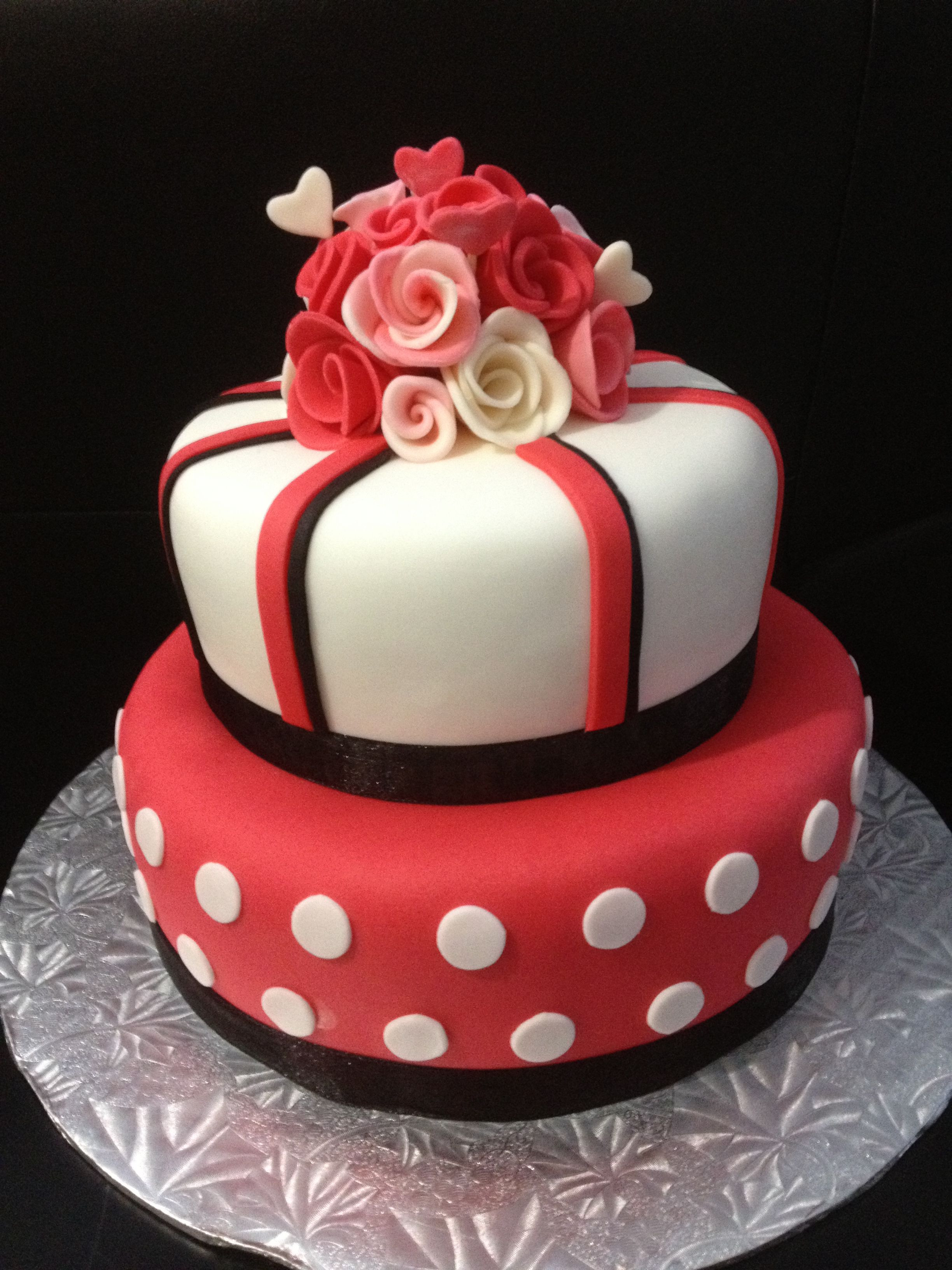 Best ideas about Valentine Birthday Cake . Save or Pin Red white and black fondant birthday cake for my sisters Now.
