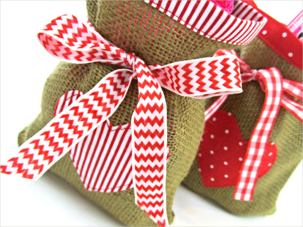 Best ideas about Valentine Gift Bags Ideas . Save or Pin ScrapBusters Heart Themed Gift Bags in Burlap & Cotton Now.